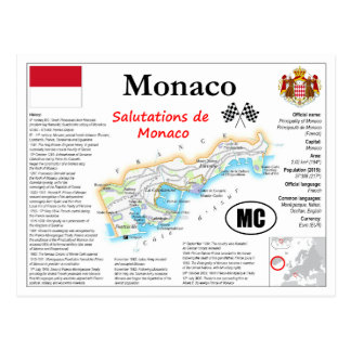 Monaco Map Postcard