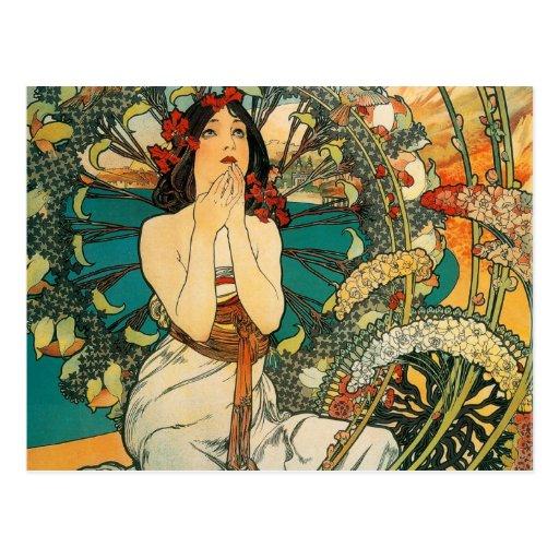 Monaco Monte Carlo Alphonse Mucha Postcard