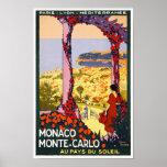 MONACO MONTE-CARLO VINTAGE TRAVEL POSTER PRINT
