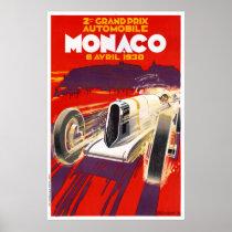 Monaco Vintage Travel Poster Restored