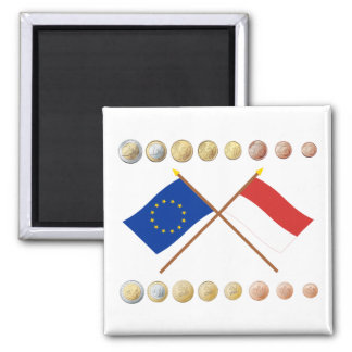 Monagesque Euros and EU & Monaco Flags (Series 1) Magnet