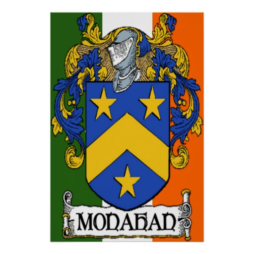Monahan Coat of Arms Irish Flag Print