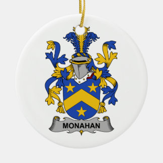 Monahan Family Crest Double-Sided Ceramic Round Christmas Ornament