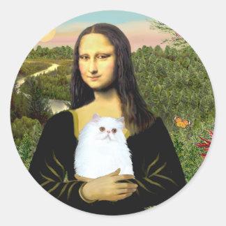MonaLisa - gatito persa blanco #49 Pegatina Redonda