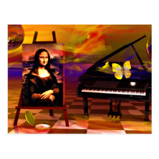 Monalisa  Smile Surreal Post Card