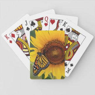 Monarca Butterfies en el girasol Cartas De Juego