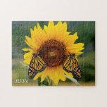 Monarca Butterfies en el girasol Rompecabezas Con Fotos