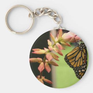 Monarca en la flor llavero redondo tipo pin