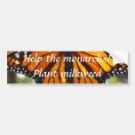 Monarcas de la ayuda, milkweed de la planta - pega pegatina de parachoque