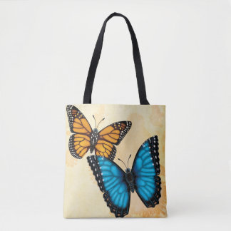 Monarch and Blue Morpho Butterflies Tote Bag