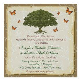 Monarch and Oak Tree Rustic Wedding Invitations
