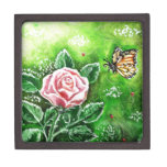 Monarch and Pink Rose Premium Trinket Boxes