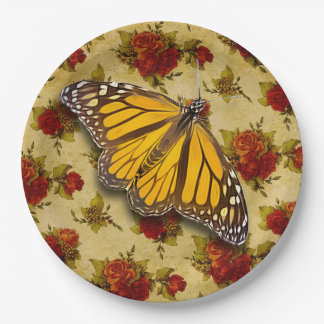 MONARCH AND ROSES PAPER PLATE