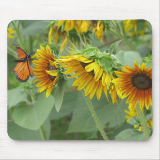 Monarch and Sunflowers Mouse Mats