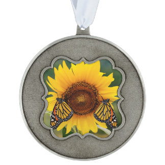 Monarch Butterfies on Sunflower Scalloped Pewter Ornament