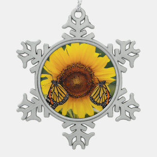 Monarch Butterfies on Sunflower Ornament