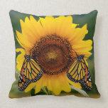 Monarch Butterfies on Sunflower Pillow