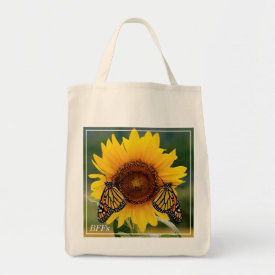 Monarch Butterfies on Sunflower Tote Bag at Zazzle