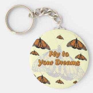 Monarch Butterflies Basic Round Button Keychain