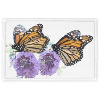 Monarch Butterflies Flowers Floral Tray