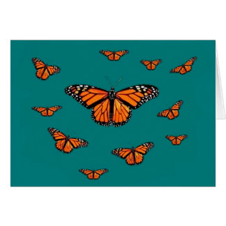 Monarch Butterflies Migration Teal by Sharles Greeting Card