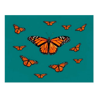 Monarch Butterflies Migration Teal by Sharles Postcard