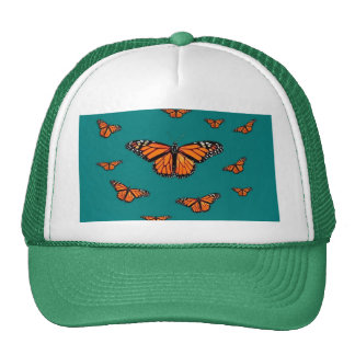 Monarch Butterflies Migration Teal by Sharles Trucker Hat