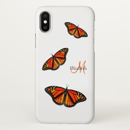 monarch butterflies monogrammed iPhone x case