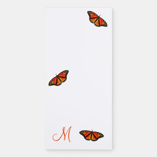 monarch butterflies monogrammed magnetic notepad