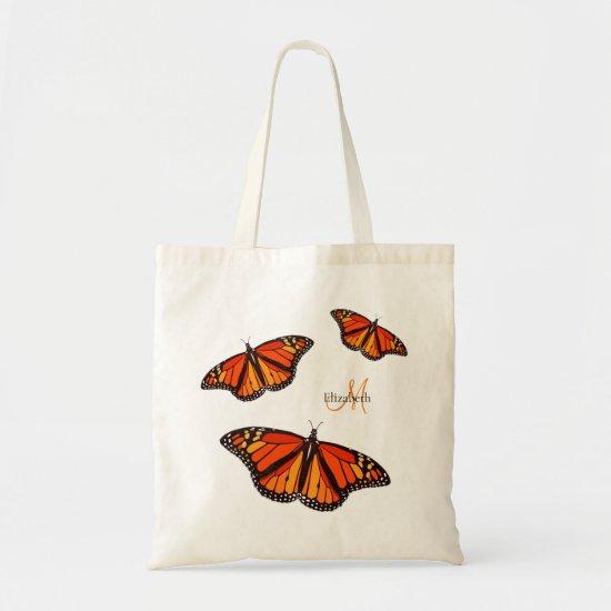 Monarch butterflies monogrammed tote bag