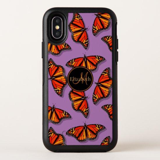 Monarch butterflies pattern lavender monogrammed OtterBox symmetry iPhone x case