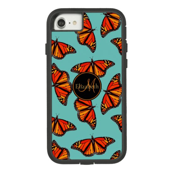 Monarch butterflies pattern light teal monogrammed Case-Mate tough extreme iPhone 8/7 case