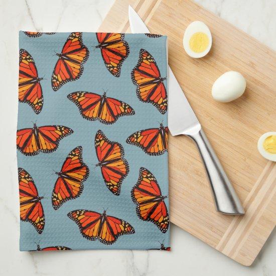 Monarch butterflies pattern nature blue monogram kitchen towel