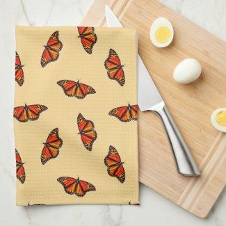 Monarch butterflies pattern pale yellow w monogram kitchen towel