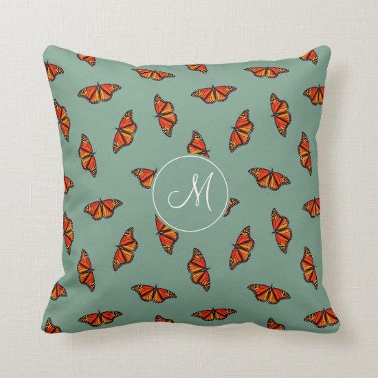 Monarch butterflies pattern w monogram teal throw pillow