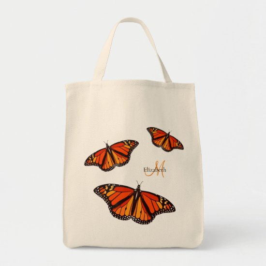 Monarch butterflies personalized tote bag