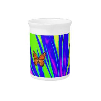Monarch Butterflies Purple Tropical Foliage Gifts Beverage Pitcher
