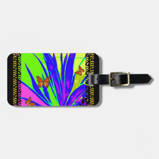 Monarch Butterflies Purple Tropical Foliage Gifts Luggage Tag