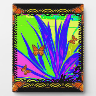 Monarch Butterflies Purple Tropical Foliage Gifts Plaque