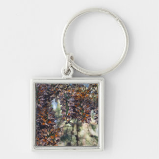 Monarch Butterflies Silver-Colored Square Keychain