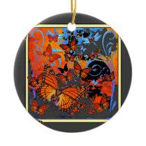 Monarch Butterflies Stormy Weather Art Ceramic Ornament