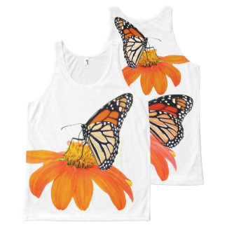 Monarch Butterflies Sunflower Flower Floral Garden All-Over Print Tank Top