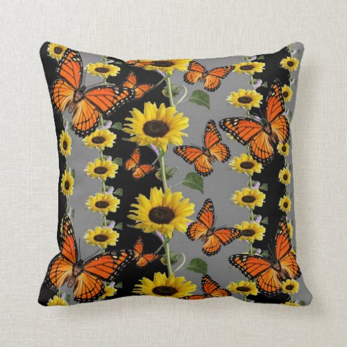 MONARCH BUTTERFLIES & SUNFLOWERS THROW PILLOW.THIS DESIGN IS ALL ABOUT THE MONARCH BUTTERFLIES & SUNFLOWERS BLACK-GREY ART PANELS for the home decor, furnishings, for the office and gifts
