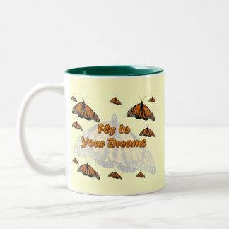 Monarch Butterflies Two-Tone Coffee Mug