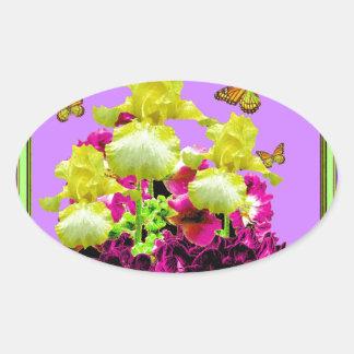 Monarch Butterflies Yellow Iris Purple Art Oval Sticker