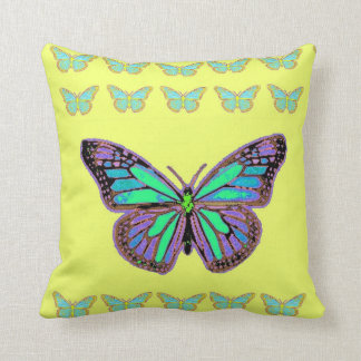 Monarch Butterflies Yellow Pillow by Sharles