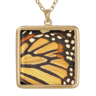 Monarch Butterfly Abstract Gold Plated Necklace