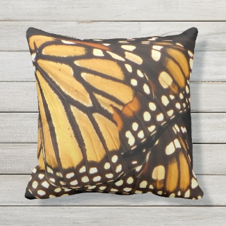 Monarch Butterfly Abstract Outdoor Pillow
