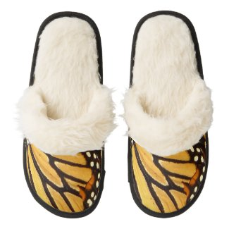 Monarch Butterfly Abstract Pair of Fuzzy Slippers