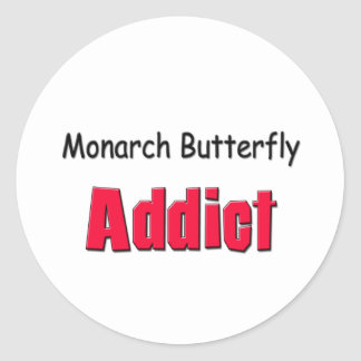 Monarch Butterfly Addict Round Stickers
